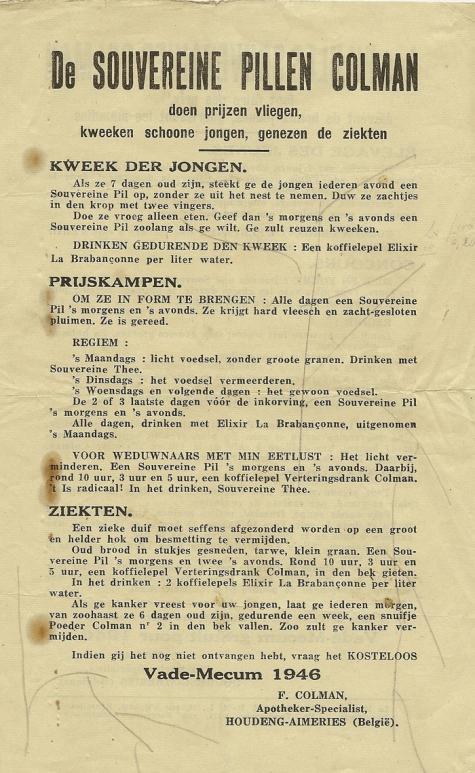 Richtlijnen voor duivenmelkers, Balegem, 1946