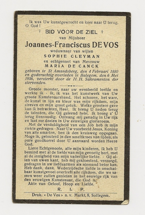 Bidprentje van Joannes-Franciscus De Vos, Balegem, 1936