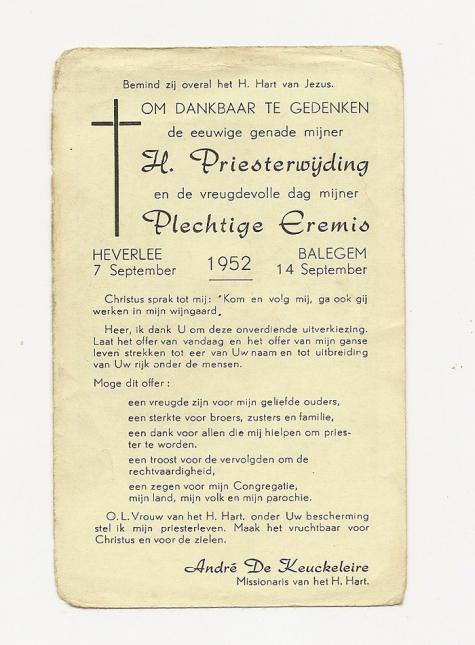 Eremis van nieuwe priester André De Keuckeleire, Balegem, 1952