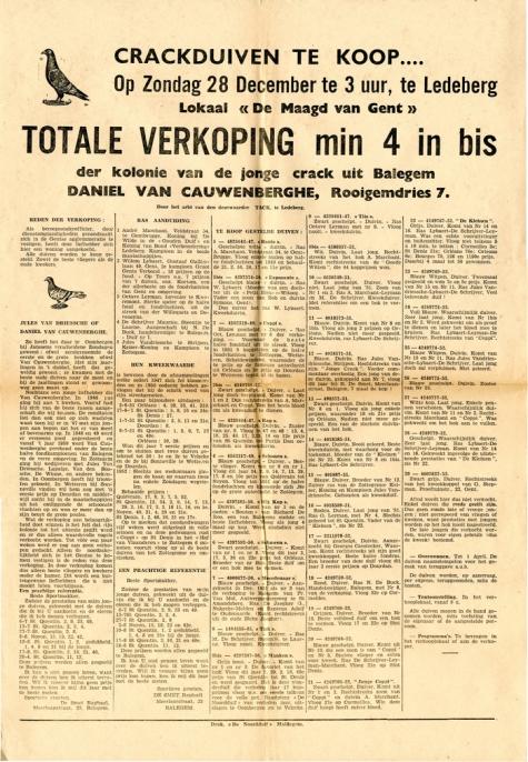 Affiche voor duivenverkoping, Balegem, 1952