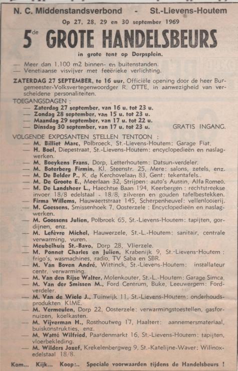Handelsbeurs deelnemerslijst, Sint-Lievens-Houtem, 1969.