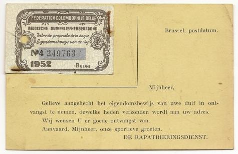 Identiteitsbewijs van een reisduif, Balegem