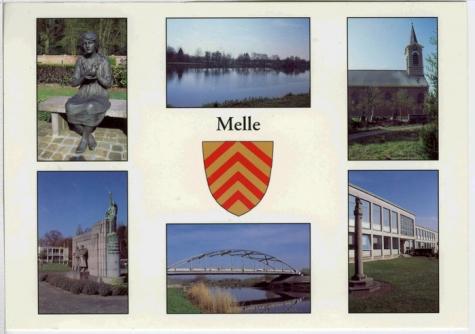 Kleurpostkaart met zes foto's van Melle