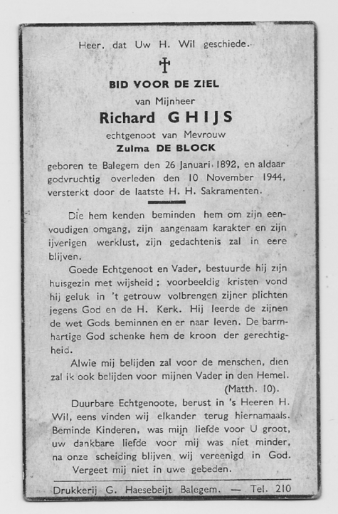 Bidprentje van Richard Ghijs, Balegem, 1944