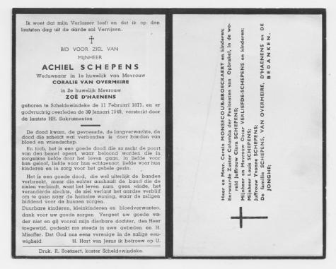 Bidprentje van Achiel Schepens, Scheldewindeke, 1949