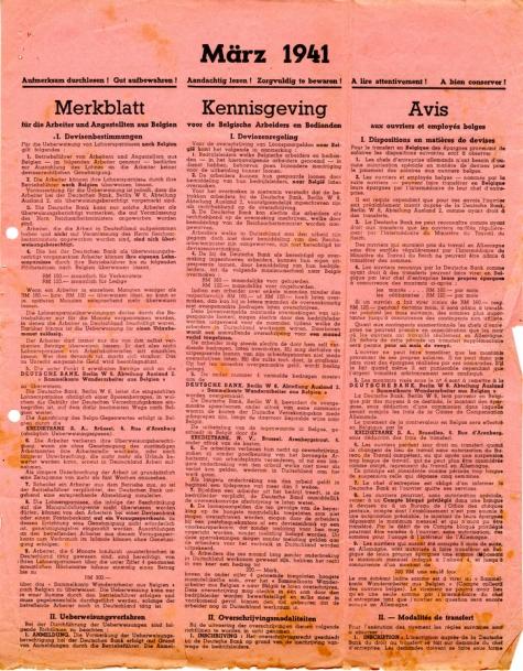 Financiële raadgevingen aan de opgeëisten in WO II, 1941