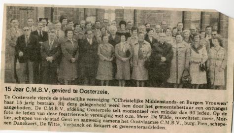 Krantenknipsel 15-jarig bestaan CMBV, Oosterzele, jaren 1970
