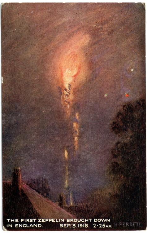 Kunstenaars impressie 'De eerste zepp neergeschoten boven Engeland', 1916