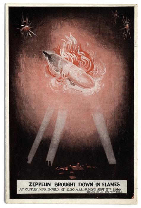 Zeppelin neergehaald en in vlammen, 1916