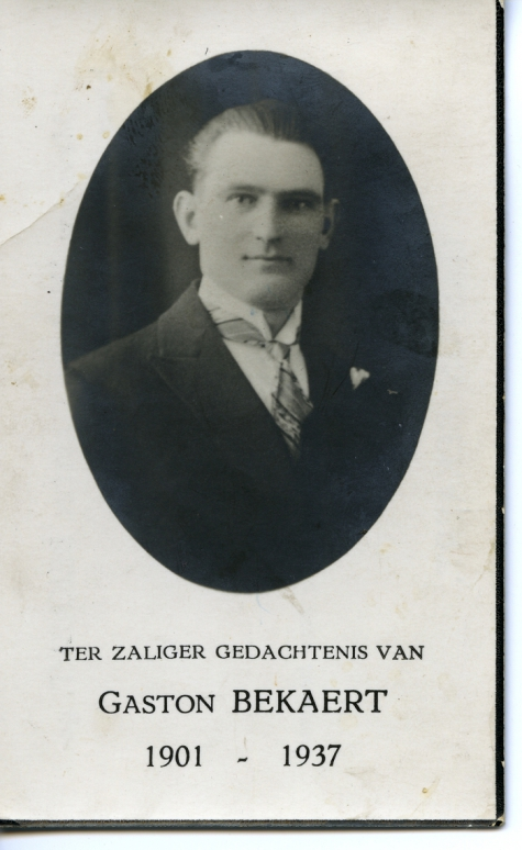 Bidprentje Gaston Bekaert, Sint-Lievens-Houtem, 1937