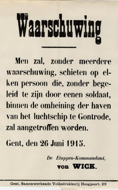Waarschuwing bij het betreden van het vliegveld van Gontrode, 1915