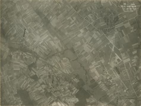 Bovenzicht op het vliegveld van Gontrode, 1917