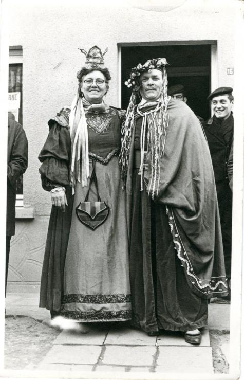Bacchus en Bacchante tijdens de Bachhusstoet, Sint-Lievens-Houtem, 1965