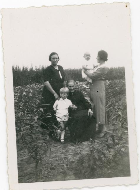 Dames Rahoens tussen rozenplanten, Oosterzele, 1930-1940