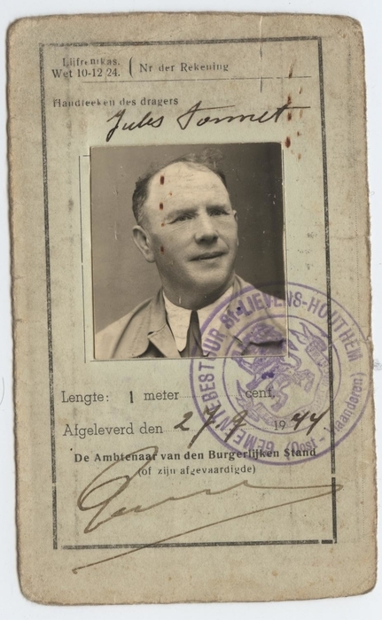Identiteitskaart Jules Ponnet, Sint-Lievens-Houtem, 1944