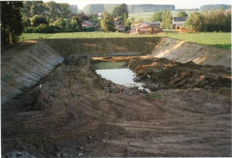 Aanleg waterreservoir, Oosterzele, 1999.