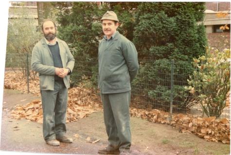 Michel en Philippe Nimmegeers, tuiniers PC Caritas, Melle, 1986.