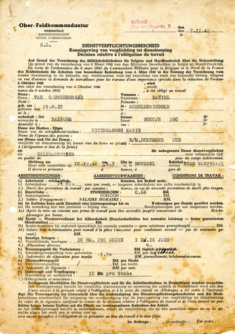 'Dienstverpfichtungsbescheid'  ofte opeisingsbevel gericht aan Daniël Van Cauwenberge, 1942