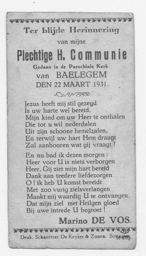 Herinnering Pl.H.Communie Marino De Vos, Balegem, 1931