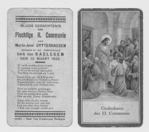 Herinnering aan Pl. H. Communie van Marie-Josée Uytterhaegen, Balegem 1932
