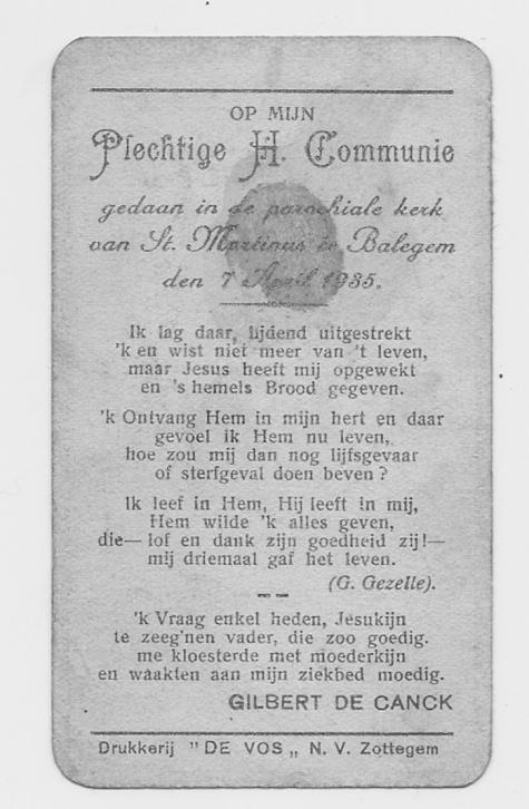 Herinneringsprentje Pl.H. Communie Gilbert De Canck, Balegem, 07.04.1935
