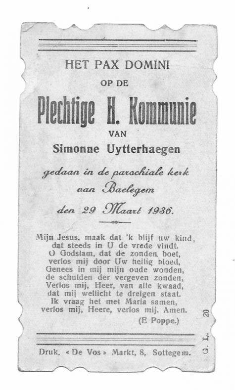 Herinneringsprentje Pl. H. Communie,  Simonne Uytterhaegen, Balegem 29.03.1936.
