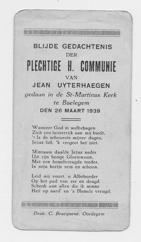 Herinneringsprentje Pl. H. Communie Jean Uytterhaegen, Balegem 1939