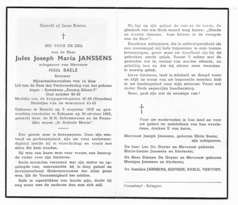 Bidprentje van (Jules) Joseph JANSSENS. † Balegem 1965.