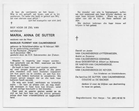 Bidprentje van Maria DE SUTTER, † Scheldewindeke 06.12.1981.