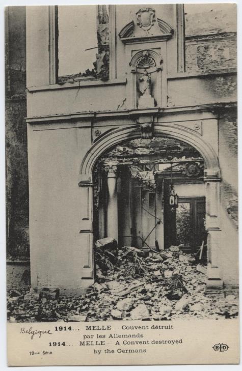 Klooster vernietigd door de Duitsers, Melle,1914