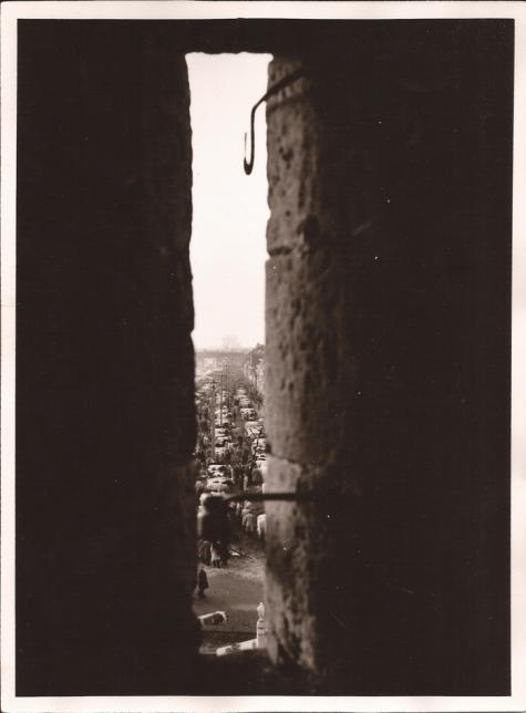 Jaarmarkt gezien vanuit de kerktoren, Sint- Lievens- Houtem, 1967