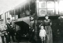 Tram van de lijn Gent-Geraardsbergen, Merelbeke, 1913.