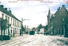 Tram van de lijn Gent-Geraardsbergen, Merelbeke. Voor 1935.