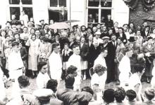 Groep tennissers, viering 25 jaar burgemeesterambt Marcel Stas de Richelle, Merekbeke, 1952