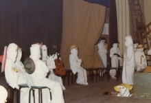 Toneel op groepsfeest chiro Geertrui, Melle, 1975-1979