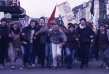 Leden chiro Melle op betoging, Brussel, 1982