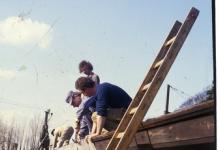 Dakwerken aan lokalen chiro Melle, 1984