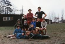 Leiding en rakkers chiro Melle aan de lokalen, Melle, 1980
