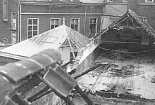 Vernielde glazen koepel van het OLV-Visitatieklooster van Sint-Amandsberg, 1915