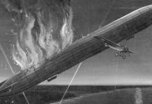 Illustratie van het luchtgevecht van Warneford en de LZ37, 1981