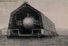 Drijvende zeppelinhal op Bodensee, 1908