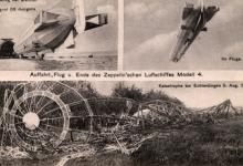 Neergestorte zeppelin LZ4 in Echterdingen, 1908