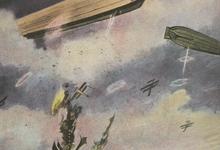 Duitse marine-luchtschepen in gevecht met vijandige vliegtuigen boven Engeland, 1916