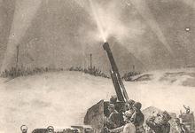 Neerschieten van zeppelin door luchtafweer, 1916