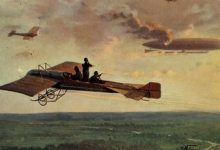 Neerschieten zeppelin boven Engeland door geallieerde vliegtuigen, 1915.