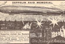 Zeppelin bombardeert oostelijke provincies van Engeland, 1915