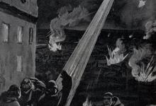 Uitzicht op het vreselijk bombardement van Luik door een zeppelin, 1914