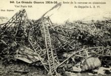 Resten van de zeppelin LZ77, 1916