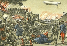 Bestorming Luik gesteund door zeppelins, 1914