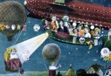 Kerstkaart met luchtballonnen en zeppelin